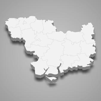 Mapa isométrico do oblast de mykolaiv é uma região da ucrânia