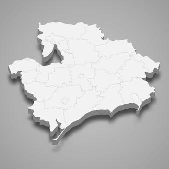 Mapa isométrico do oblast de zaporizhzhia é uma região da ucrânia