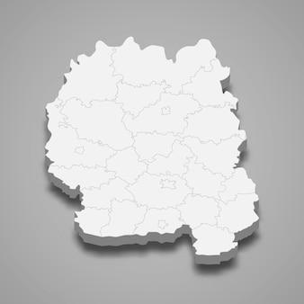 Mapa isométrico do oblast de zhytomyr é uma região da ucrânia