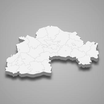 Mapa isométrico do oblast é uma região da ucrânia