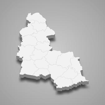 Mapa isométrico do oblast sumy é uma região da ucrânia
