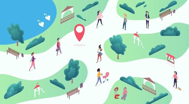 Mapa isométrico do parque público da cidade com pessoas caminhando, ouvindo música e relaxando