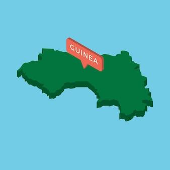 Mapa isométrico verde do país da guiné com ilustração de ponteiro