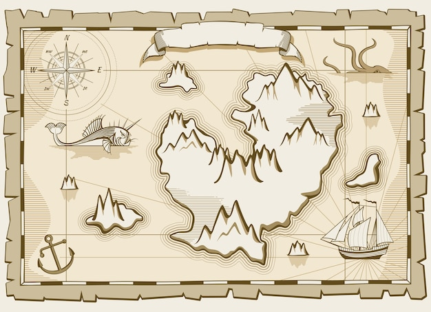 Mapa marrom de vetor vintage pergaminho