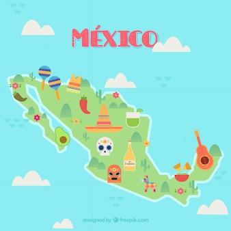 Mapa mexicano com elementos culturais