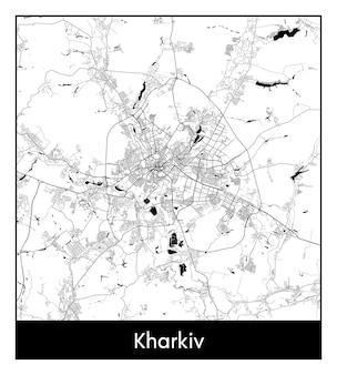 Mapa mínimo da cidade de kharkiv (ucrânia, europa)
