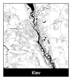 Mapa mínimo da cidade de kiev (ucrânia, europa)