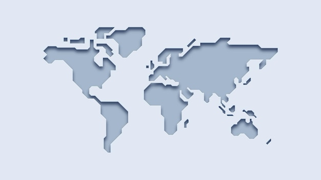 Mapa-múndi 3d em papel branco