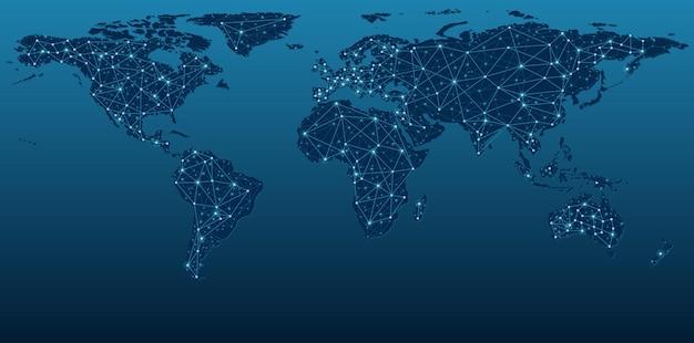 Mapa-múndi azul escuro mostrando redes de comunicação