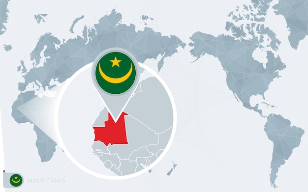 Mapa-múndi centrado no pacífico com a mauritânia ampliada. bandeira e mapa da mauritânia.