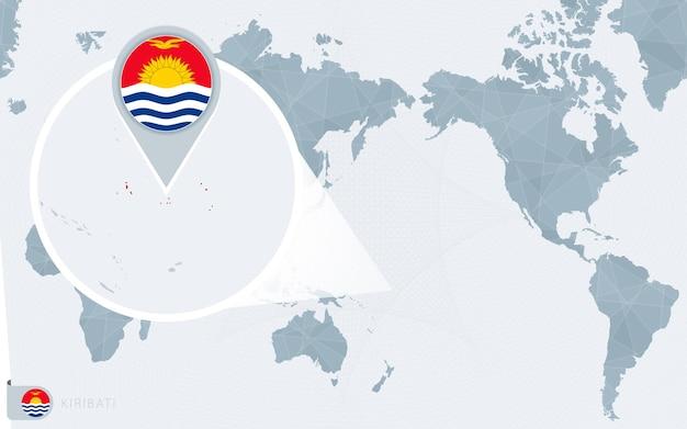 Mapa-múndi centrado no pacífico com kiribati ampliado. bandeira e mapa de kiribati.