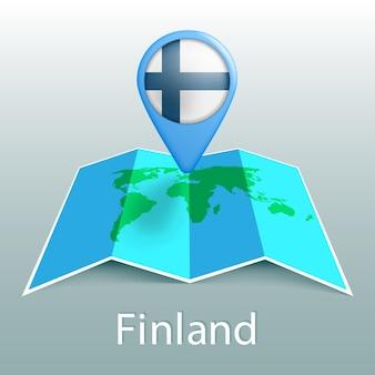 Mapa-múndi com bandeira da finlândia no alfinete com o nome do país em fundo cinza