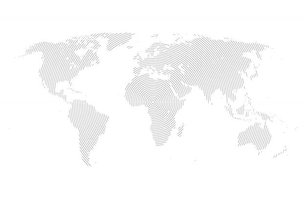 Mapa-múndi com linhas
