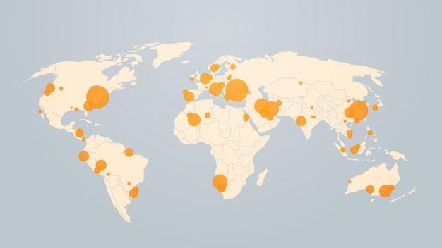 Mapa-múndi com localização pinos surto de casos confirmados de coronavírus relatam mundialmente epidemia de infecção por gripe mers-cov espalhando países com influências flutuantes com covid-19