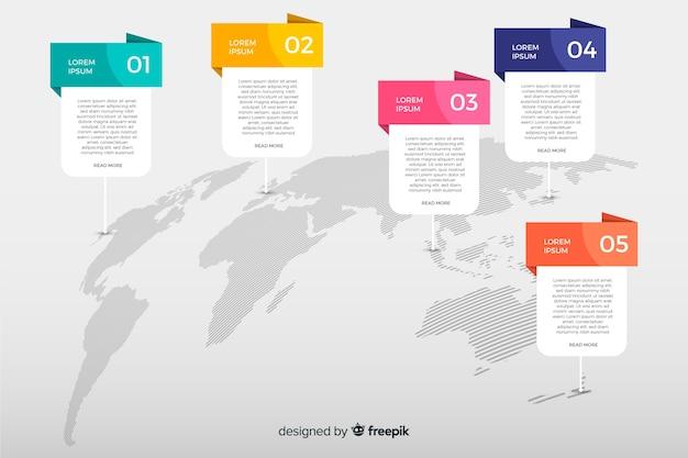 Mapa-múndi com opções de infográfico