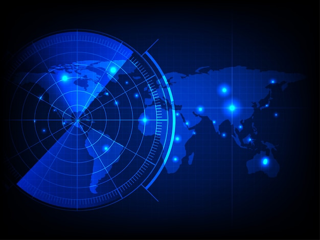Mapa-múndi com tela de radar, radar azul digital com alvos e mapa-múndi usando como plano de fundo e papel de parede