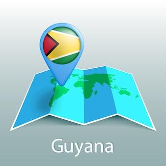Mapa-múndi da bandeira da guiana em um alfinete com o nome do país em fundo cinza