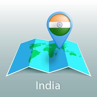 Mapa-múndi da bandeira da índia em um alfinete com o nome do país em fundo cinza