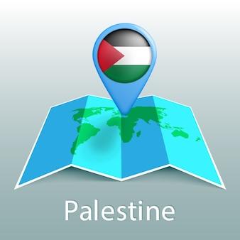 Mapa-múndi da bandeira da palestina em um alfinete com o nome do país em fundo cinza