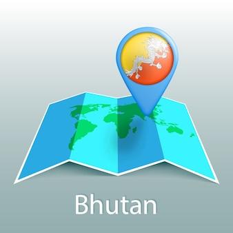 Mapa-múndi da bandeira do butão em um alfinete com o nome do país em fundo cinza