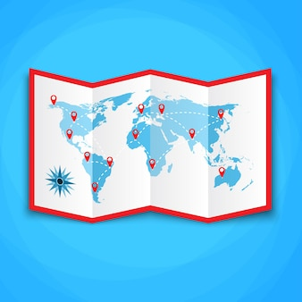 Mapa-múndi de papel com ícones de localização.