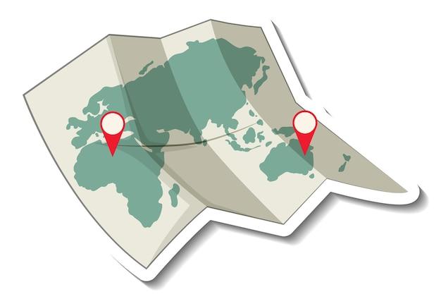 Mapa-múndi de papel dobrado com alfinete vermelho