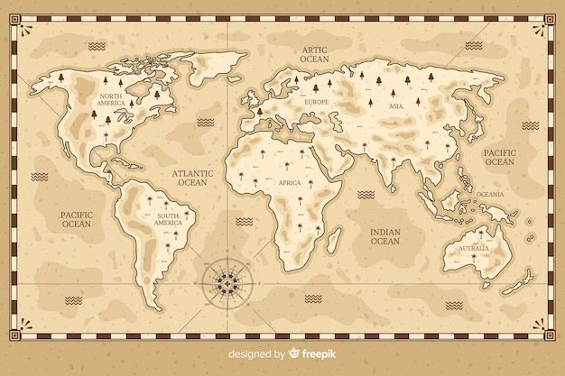 Mapa-múndi desenho em estilo vintage