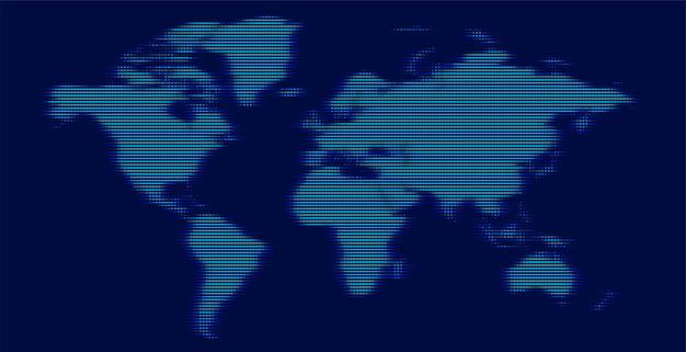 Mapa-múndi digital feito com linhas brilhantes