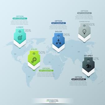 Mapa-múndi e 5 marcas de localização com títulos