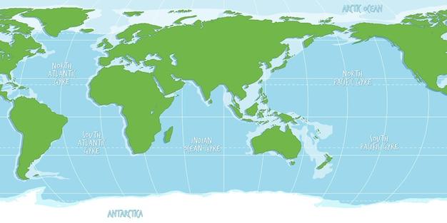 Mapa-múndi em branco com cor azul e verde