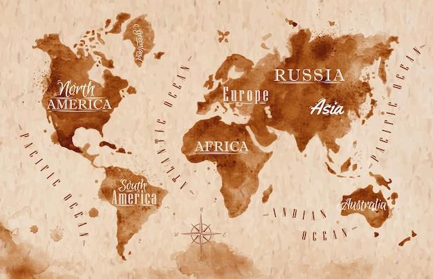 Mapa-múndi em estilo antigo em formato vetorial, gráficos em marrom em estilo retro