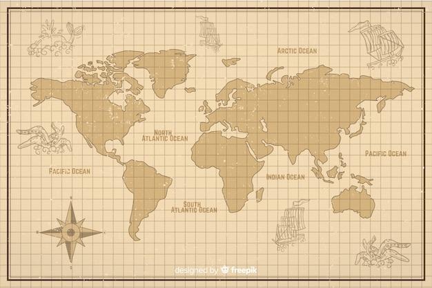 Mapa-múndi em estilo digital vintage