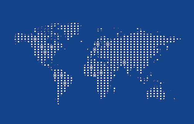 Mapa-múndi gráfico de computador abstrato de pontos redondos azuis