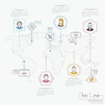 Mapa-múndi, marcas de localização, caixas de texto e pictogramas com caracteres