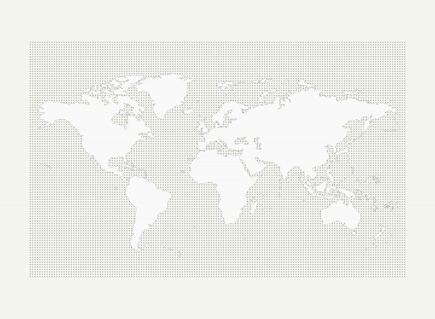 Mapa-múndi no padrão de pontos cinza círculo sobre fundo branco