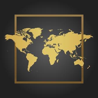 Mapa-múndi político dourado em fundo preto com moldura. espaço para texto e citações. ilustração vetorial.