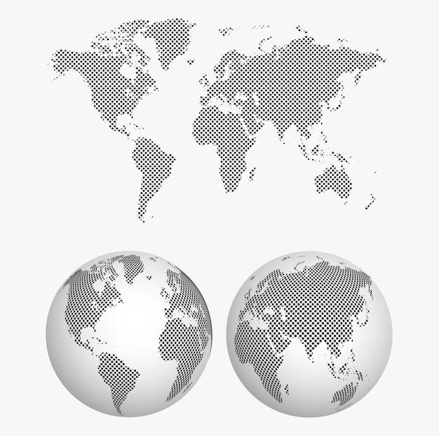 Mapa-múndi pontilhado com globo terrestre 3d