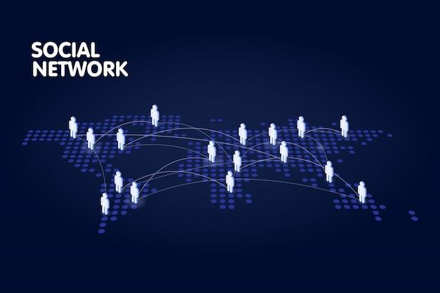 Mapa-múndi pontilhado com símbolo de pessoas. conceito de tecnologia de rede social