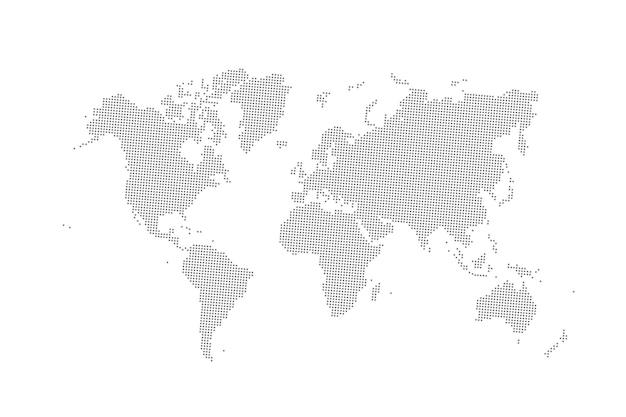 Mapa-múndi pontilhado de vetor cinza isolado no branco