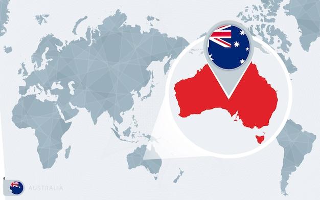 Mapa mundial centrado no pacífico com a austrália ampliada. bandeira e mapa da austrália.