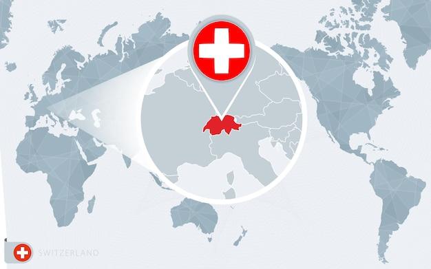 Mapa mundial centrado no pacífico com a suíça ampliada. bandeira e mapa da suíça.