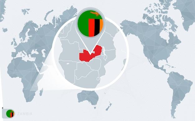 Mapa mundial centrado no pacífico com a zâmbia ampliada. bandeira e mapa da zâmbia.