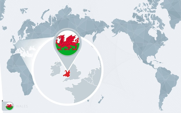 Mapa mundial centrado no pacífico com bandeira ampliada do país de gales e mapa do país de gales