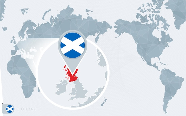 Mapa mundial centrado no pacífico com bandeira da escócia ampliada e mapa da escócia