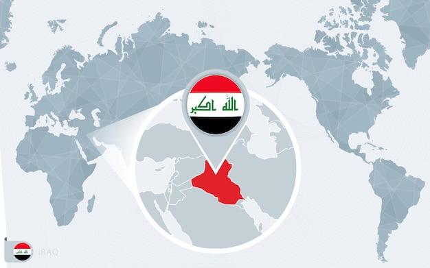 Mapa mundial centrado no pacífico com bandeira do iraque ampliada e mapa do iraque