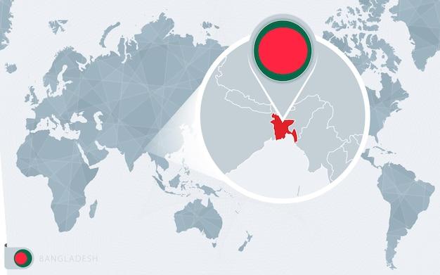 Mapa mundial centrado no pacífico com bangladesh ampliado. bandeira e mapa de bangladesh.