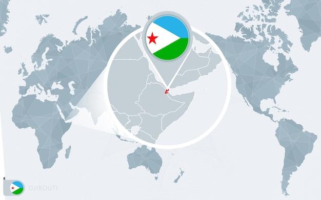 Mapa mundial centrado no pacífico com djibouti ampliado. bandeira e mapa do djibouti.