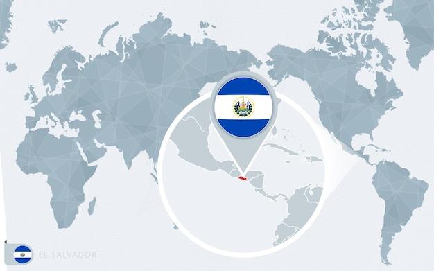 Mapa mundial centrado no pacífico com el salvador ampliado. bandeira e mapa de el salvador.