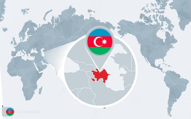 Mapa mundial centrado no pacífico com o azerbaijão ampliado. bandeira e mapa do azerbaijão.