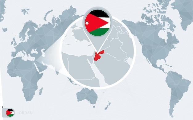 Mapa mundial centrado no pacífico com o jordão ampliado. bandeira e mapa da jordânia.